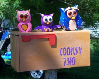 owl bird mailbox with 3 owls family sitting on a package mailbox custom