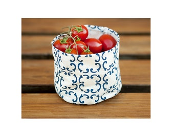 Small storage basket, handprint white and blue basket, water proof cotton basket, organic cotton bread basket