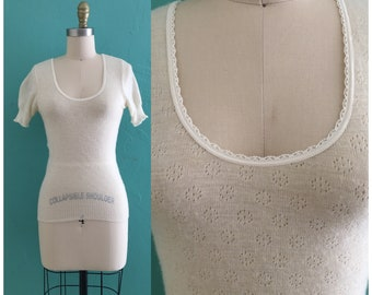 vintage 70's cream knit tee // spring knit top