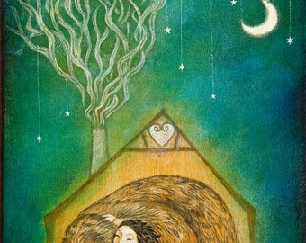 """Limited edition giclée print of original painting by Lucy Campbell - """"hug me a dream"""""""