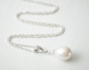 Bridal Necklace Pearl, Pendant Necklace Wedding, Freshwater Pearl Necklace, Sterling Silver