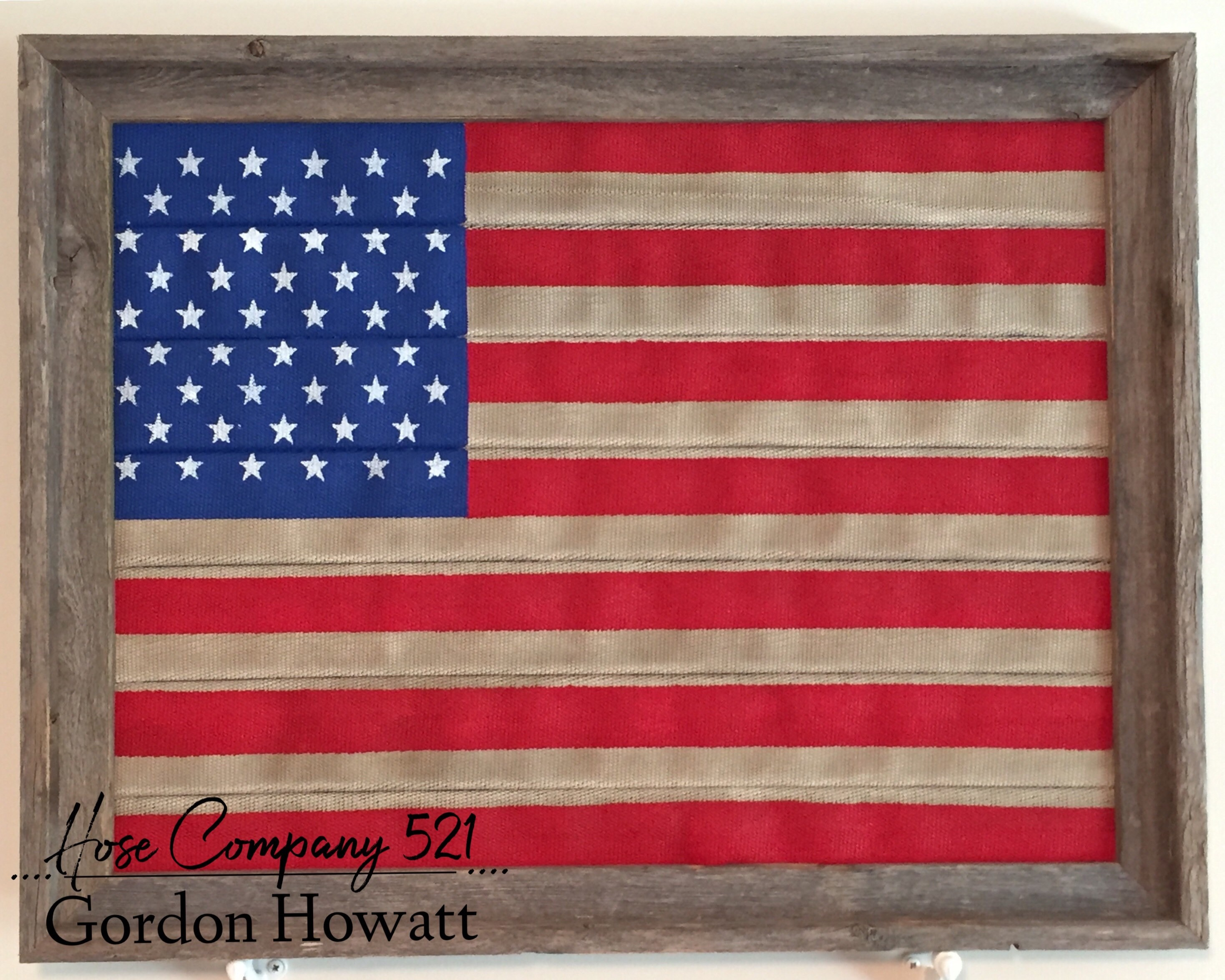 52152 Vintage Fire Hose American Flag 18\' x24