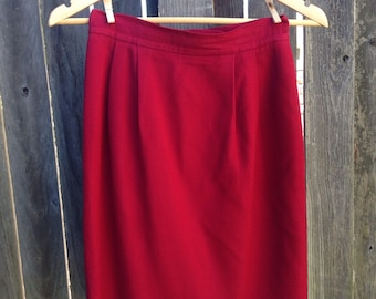 Crimson Red 80s/90s Wool Pencil Skirt Size 2P
