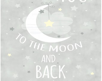 Moon And Stars To The Moon And Back Fabric Panel By Timeless Treasures Fabric