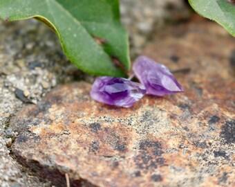 Amethyst Earrings | Minimalist Earrings | Stone Earrings | Raw Stone Earrings | Amethyst Earrings | Purple Earrings | Amethyst