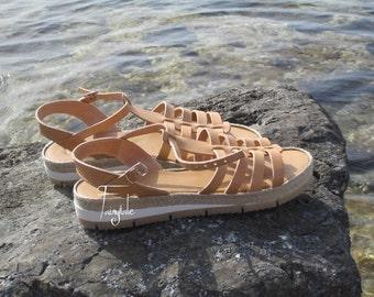"Natural Color Greek Leather sandals - women's  greek sandals, authentic leather handmade sandals, stylish sandals - ""Ioli"""