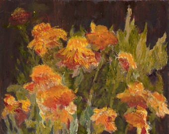 Marigolds 8x10 Canvas Giclee of Original Oil Painting by Kathleen Farmer Denver Artist