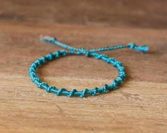 Turquoise spiral bracelet, macrame bracelet, hippie boho, stack bracelet, gift for her, elegant bracelet