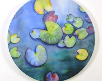 Water Lilliy Pads Sandstone Coaster Original Watercolor