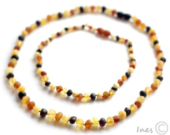 Raw Unpolished Baltic Amber Baby Teething Set for Baby and Mommy. Multicolor Beads