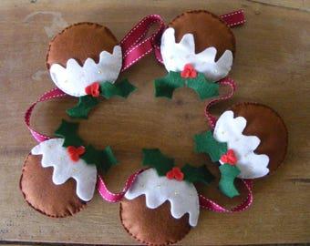 Felt Christmas Pudding Garland
