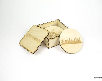 The Lord of the Rings theme wooden coasters - set of 6 pieces + DIY box