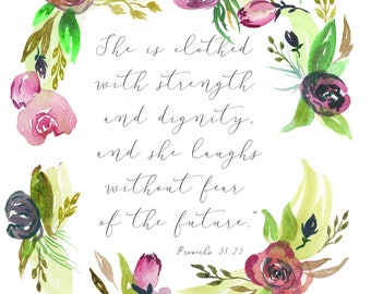 Proverbs 31:25 Watercolor Print Wreath Floral
