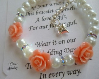 Flower Girl Gift, Pearl Flower Girl Bracelet, Pearl Childrens Bracelet, Pearl Childrens Gift, Pearl Girls Bracelet, Little Girls Bracelet