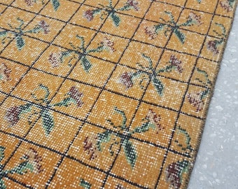 2 by 3 rug, Small Rug, Small Vintage Rug, Small Oushak Rug, Small Turkish Rug, Doormat Rug, Vintage Pillow, Vintage Cushion, Pillow Rug