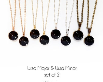 Mother's Day, Ursa Major Ursa Minor Constellation Necklace, Set of Two, Locket, Big Dipper, Little Dipper, Sisters, BFF, Mother Daughter