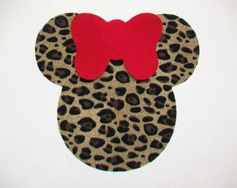 DIY No-Sew Cheetah Minnie Mouse and Red Bow- Iron On