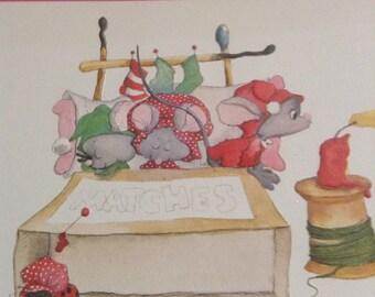 Christmas card mice in matchbook bed unused+env