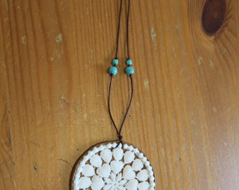 Lace necklace, Hippie necklace, Mandala necklace, Handmade pendant necklace, Boho Geometric necklace, rustic jewelry.