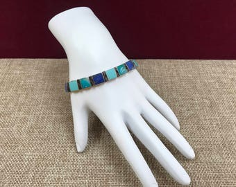 Vintage 950 (95% pure) Silver  With Turquoise, Lapis Link Bracelet!!! Free US Shipping!!!