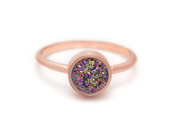 Peacock Druzy Quartz in Rose Gold Ring - Bezel Set - Round - Available in sizes 4.5, 5, 5.5, 6, 6.5, 7, 7.5, 8, 8.5, 9, 9.5 and 10