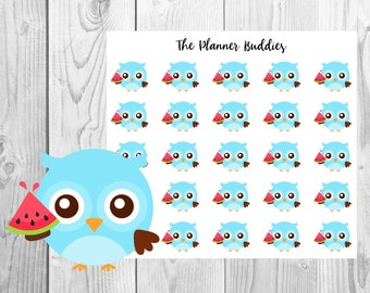 Ollie the Owl, Planner Stickers, Owl Planner Stickers, Summer Themed Planner Stickers, Watermelon