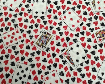 1.75 yards of Playing Cards/Luck of the Draw/Gambling Theme on white background cotton fabric