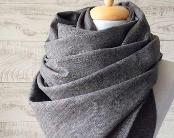 Herringbone scarf black scarf mens scarf large wool scarf wool scarf men large wide wool herringbone scarfFAST DELIVERY