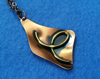 Vintage Copper and Brass Pendant Necklace, abstract two-tone pendant, copper pendant, copper tone necklace