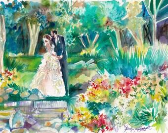 Wedding Anniversary Gift Ideas - custom - wedding anniversary - original watercolor wall art