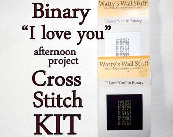 "Cross Stitch KIT -- Binary ""I love you"" mini cross stitch DIY kit"