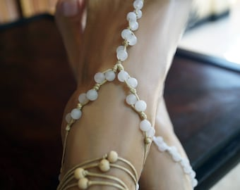 Rose Quartz Barefoot Sandals, Beach Wedding Barefoot Sandals, Gemstone Anklets, 1 Pair