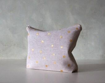 Gold polka dot cosmetic bag, personalized makeup bag, Pencil case, Monogrammed, Bridesmaid gift
