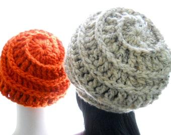 CROCHET PATTERN: The Tres Trois for Men and Women Hat Pattern, Unique Beanie / Beret / Slouchy, Instant Download PDF