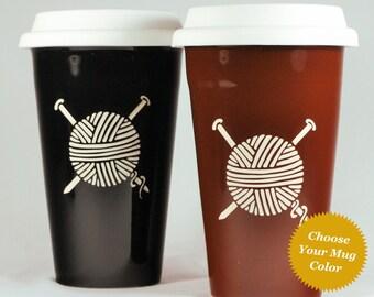 Knitting Yarn Travel Mug - ceramic lidded coffee cup