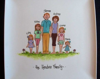 """Personalized 10.25"""" Square Family Plate - great hostess gift or gift for mom or grandmother"""