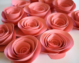 Coral Paper Flowers, Loose Paper Roses, Small Paper Roses