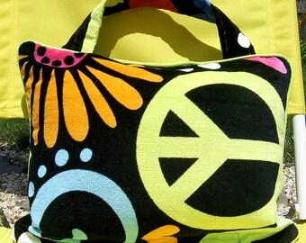 Pillow Beach Pillow Travel Pillow Peace and Flowers