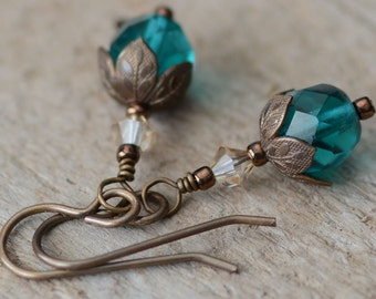Teal Drop Earrings Vintaj Brass Jewelry Swarovski Golden Crystals and Czech Glass Jewelry Under 20