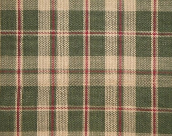 Plaid Material | Green Plaid Material | Cotton Material | Country Cupboard Plaid Homespun Material | Sewing Material | Rag Quilt Material