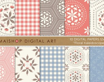 Digital Paper 'Floral Kaleidoscope' Coral, Blue, Pink and Brown Scrapbook Papers for Wall Art, Scrapbook, Decoupage, Invites, Cards...