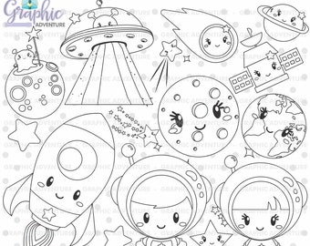 Space Stamps, Outer Space Stamps, Spaceship Stamps, Astronaut Stamps, COMMERCIAL USE, Digital Stamp, Digital Image, Party Digistamp