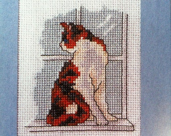 Personalised cat cross stitch greeting card - various designs