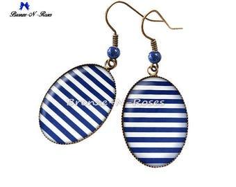 Earrings bronzes cabochon sailor stripes blue bronze-n-roses