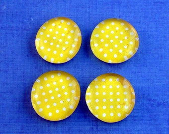 Funky Refrigerator Magnets Yellow Glass Marble Magnets in  Lemon Polka Dots (M97)