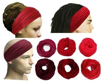 Red Headband Mens Girls Headband Dreadlock Headband Head Wrap Head Scarf Wide Headband Boho Hippie Head Wrap Headband Men Yoga Headband