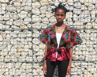 African print Cape blouse with peplum detail