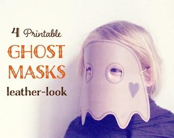 DIY ghost MASKS for halloween mask, 4 printable halloween masks, printable masks, paper masks for kids, kids mask, instant download.