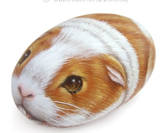 Guinea Pig Hand Painted on Rock | Stone Art by Roberto Rizzo