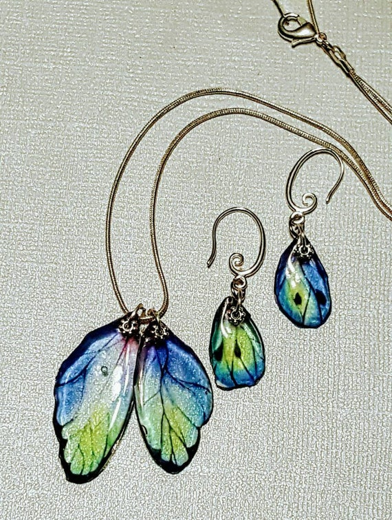 Blue Green Butterfly Wings - Necklace and Earring Set